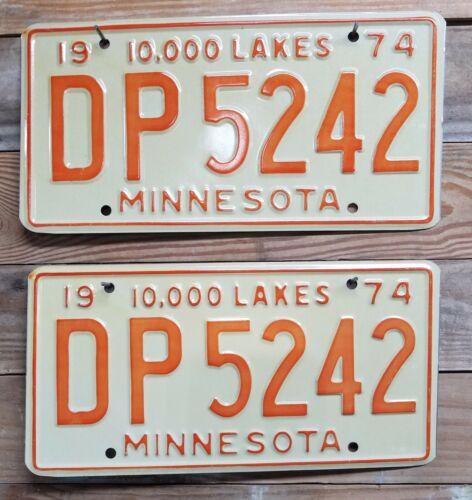 "Minnesota Vintage Pair expired 1974 ""10,000 LAKES"" License Plate Tag - DP5242"
