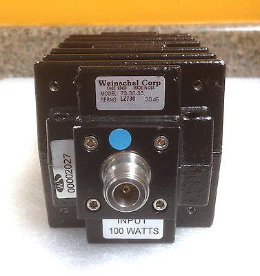 Weinschel 73-30-33 Dc To 8.5 Ghz 30 Db 100 Watts Type N F-f Coax Attenuator