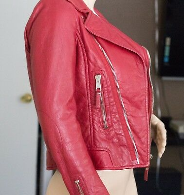 Balenciaga Red leather biker jacket womens size 38 US small s $2740 retail BIN