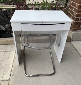 IKEA vanity desk and ghost chair