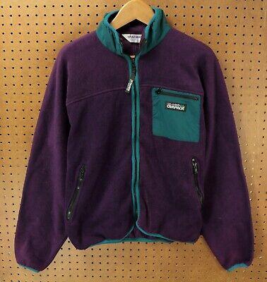 vtg 80's 90's usa made CAMPMOR full zip fleece jacket LARGE colorblock purple