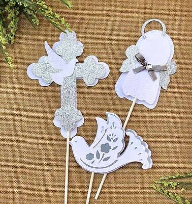 Baptism centerpieces sticks/white and silver/silver and white/ angel - Baptism Centerpieces