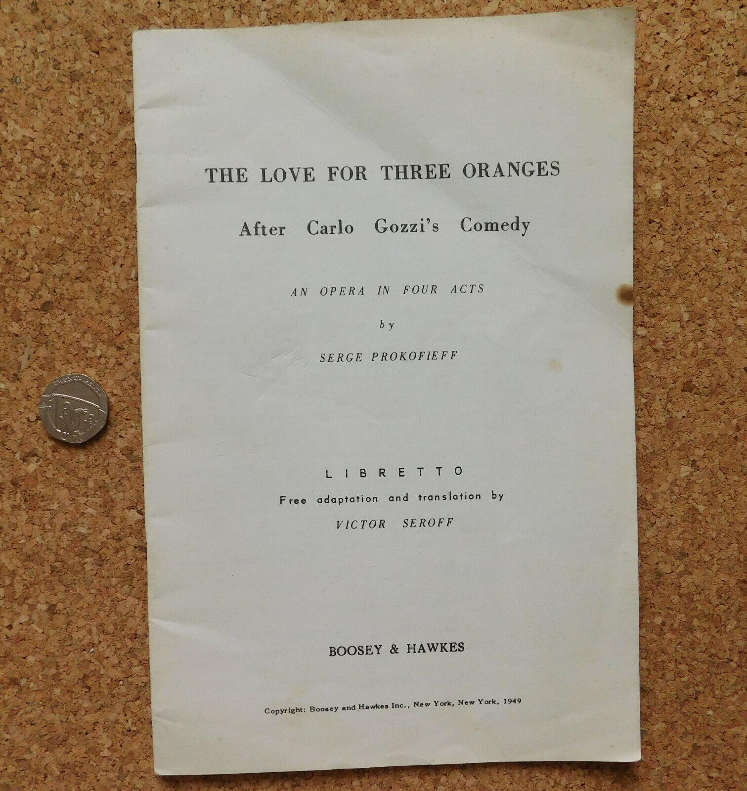 The Love for Three Oranges LIBRETTO of Prokofiev grand opera book Victor Seroff