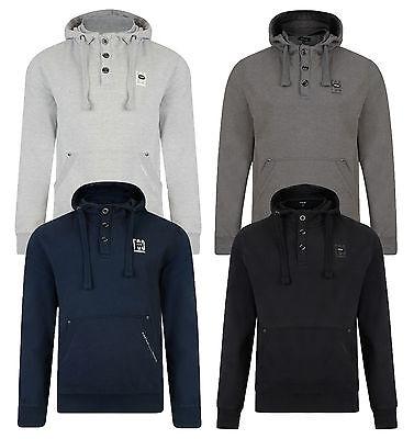 FIRETRAP Mens Hooded Sweatshirt Perus Overhead Fleece Hoodie Grey Top