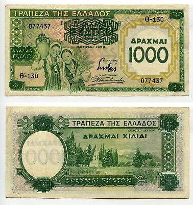 1000 Drachmai Griechenland 1939  Erhaltung III+, Pick 111