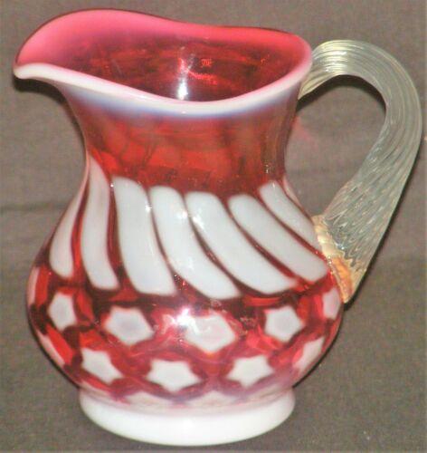 "Vintage Fenton Stars & Stripes Cranberry Opalescent Small Pitcher 4 1/4"""