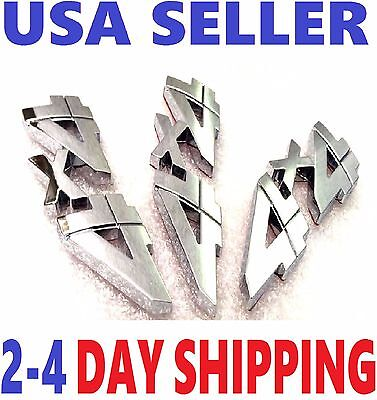 3X Chrome 4X4 Emblem 4 X 4 Car Truck Lincoln Saturn Ram Logo Decal Sign Badge 3D