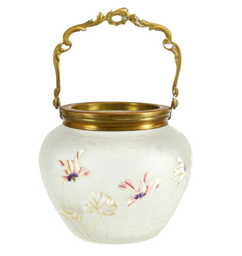 Art Glass w/ Gilt Bronze Handle Urn Raised Hand painted Enamel Flowers