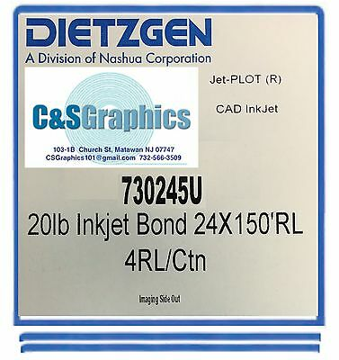 "4 Rolls 24""x150' 20lb Bond HP DesignJet Plotter Paper 2"" core 92 Bright white"
