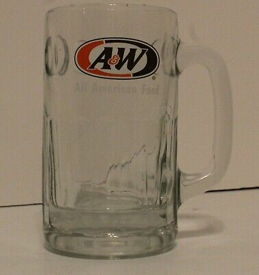 "A&W Root Beer Glass Mug Heavy Thumbprint Mug ""ALL AMERICAN FOOD"" NEW!!!"