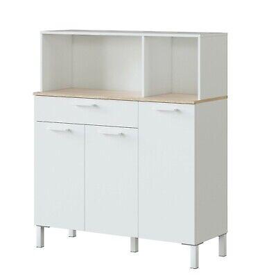 Mueble auxiliar 3 puertas cajon cocina microondas Yuka blanco moderno 126x108x40