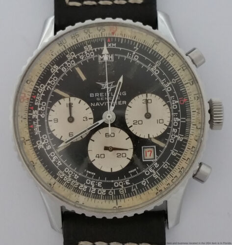 Minty Breitling Navitimer Red Date Vintage Chronograph Mens Watch 7806 Twin Jet - watch picture 1