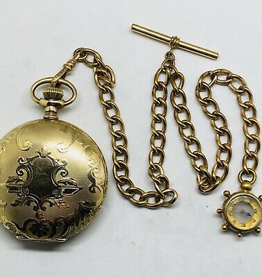 Antique Waltham Pocket Watch With Chain Gold Field 18s 17j 1901 Works Great