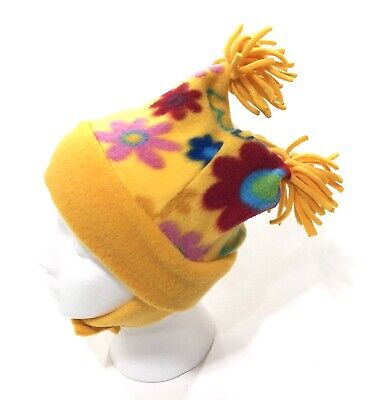 Turtle Fur Fleece Girls Youth Jester Pom Pom Hat with Chin Strap Yellow Floral Turtle Fur Fleece