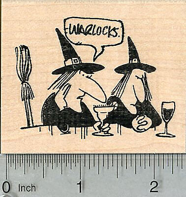 Halloween Witches Rubber Stamp, on Bar Stools, Girl Talk, Humorous J34707 WM - Witches On Halloween
