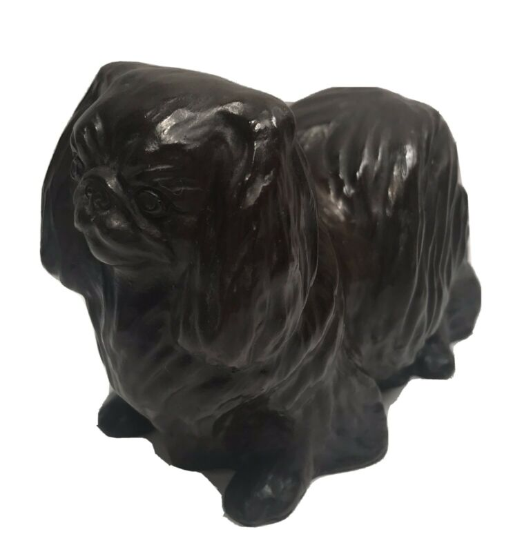 "Vintage Standing Pekingese Dog Figurine Paperweight Bronze Animal Sculpture 4"""