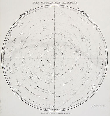 Star Map Unit. Starry Sky Original Lithography Map Flemming 1854