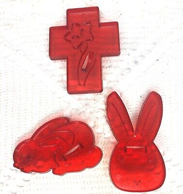 Cross Cookie Cutters (Vintage Cookie Cutters Easter Cross Bunny Rabbit Red Clear Plastic)