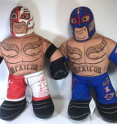 "2011 & 2012 WWE Brawlin' Buddies 16"" Plush Rey Mysterio Dolls Talking Mattel"