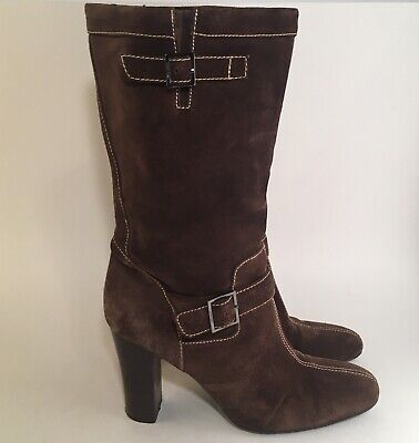 """Calvin Klein """"Hess"""" Suede Mid- Boots Heel Shoes Brown Size 8.5 M"""