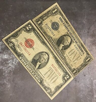 Paper Money Estate Lot $1 & $2 Series Of 1928 Notes, FREE shipping