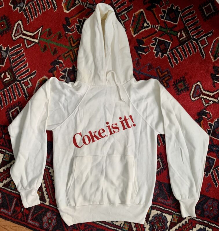 Vintage NOS 90's Coke Is It White Hoodie Sweatshirt Coca Cola Size Xs Small