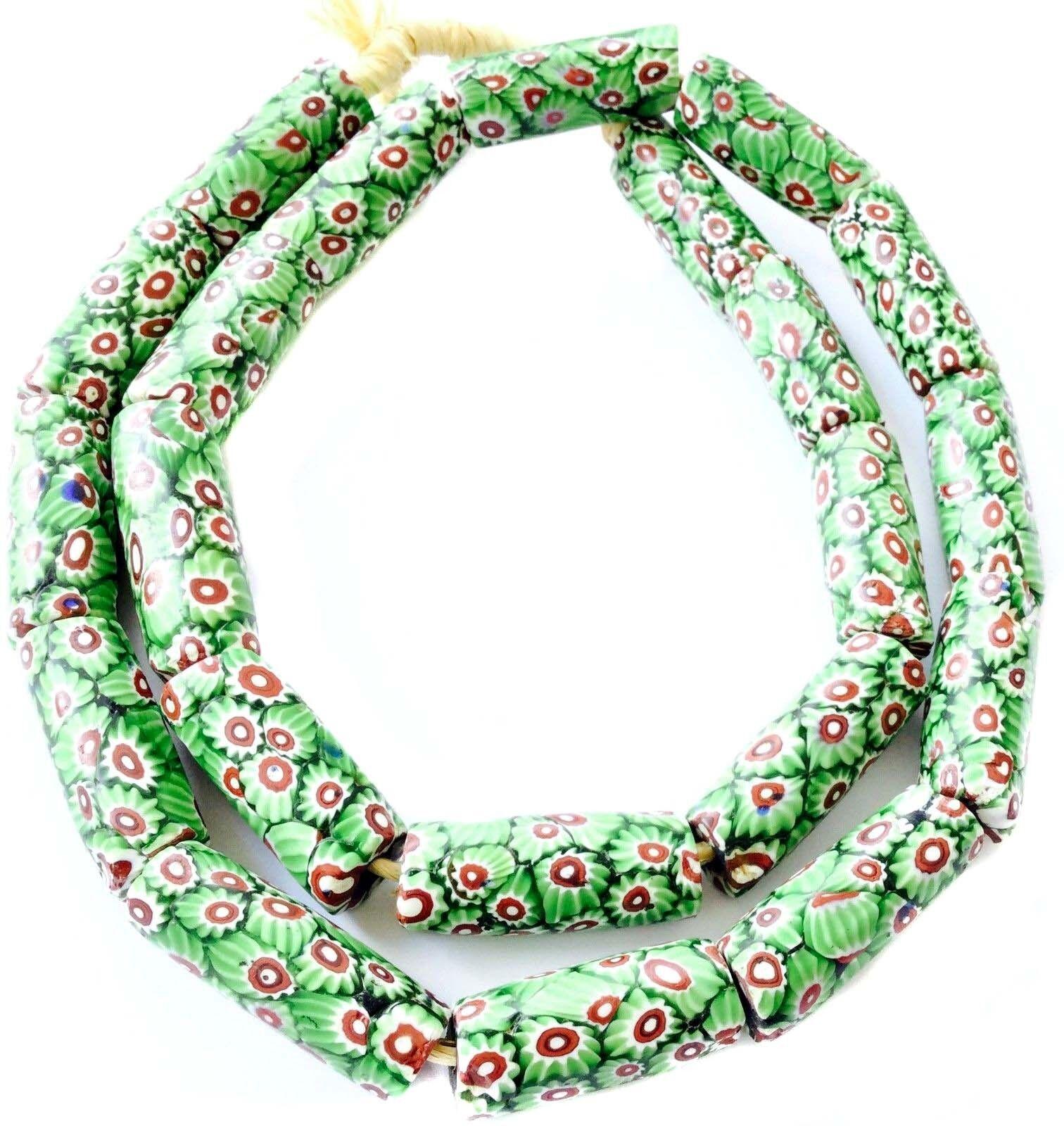 Rare Antique Venetian Green Chevron Cane Cylinder glass African trade beads
