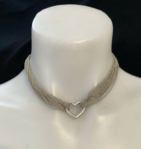 VINTAGE TIFFANY STYLE STERLING SILVER MULTI CHAIN   HART NECKLACE FROM 1980TH.