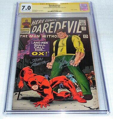 Daredevil #15 Dual CGC SS Signature Autograph STAN LEE JOHN ROMITA Death the Ox