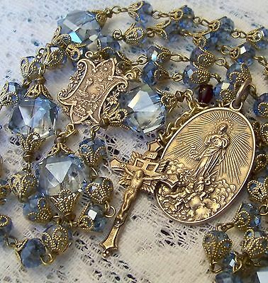 French Rosary ~ Assumption of Mary ~ Blue Crystal ~ Antique Bronze Design ~