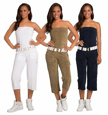 Sweet Vibes Junior Womens Jumpsuit Stretch Terry Cloth Tube Fashion Belt