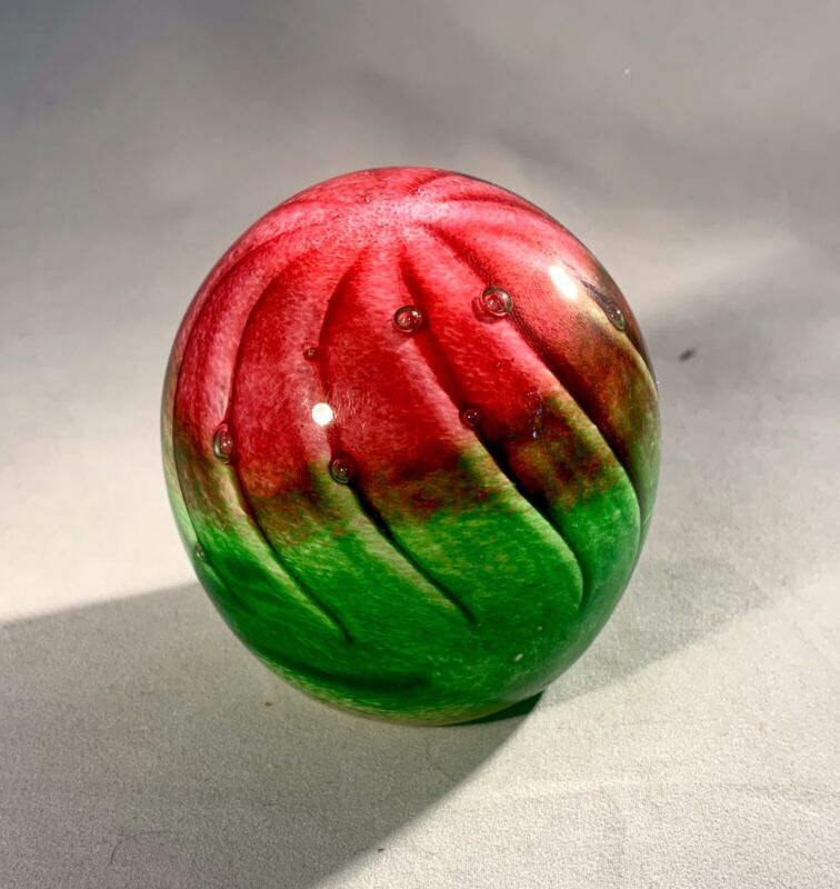 """Mtarfa Paperweight-Signed-Green & Pink-Vintage-Malta-2.5"""""""