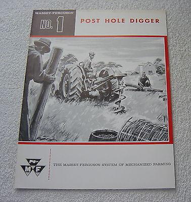 MASSEY FERGUSON TRACTOR MF1 POST HOLE DIGGER c 1961 SALES BROCHURE