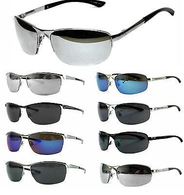 Sportliche Sonnenbrille Bikerbrille Metall Rahmen Verspiegelt Herren R1 M1 Etui