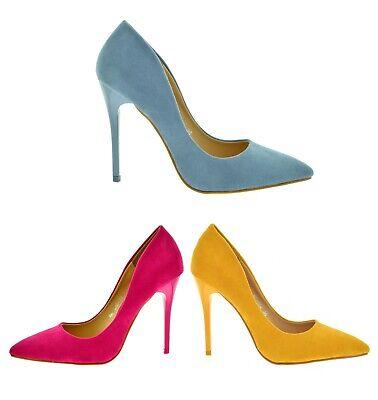 Scarpe eleganti donna decolte a punta scamosciate con tacco alto a spillo estive
