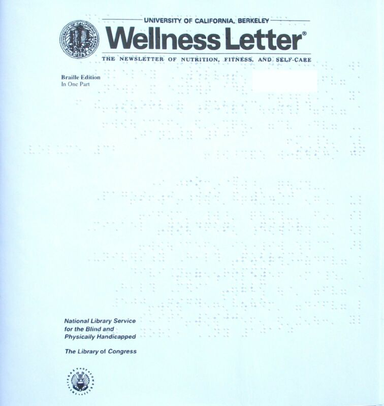 Wellness Letter - August 2017 (Braille for the blind)