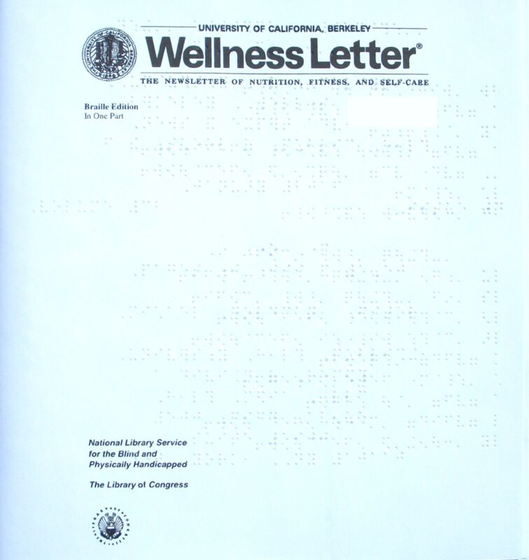 Wellness Letter April 2016 (Braille for the blind)