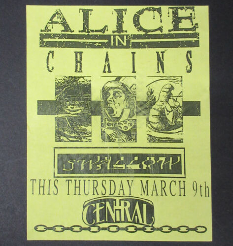 ALICE IN CHAINS Central Tavern SEATTLE 1989 CONCERT FLYER Layne Staley CANTRELL