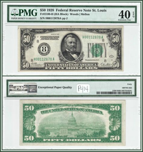 1928 Numerical Seal $50 Federal Reserve Note PMG 40 EPQ Extremely Fine XF FRN