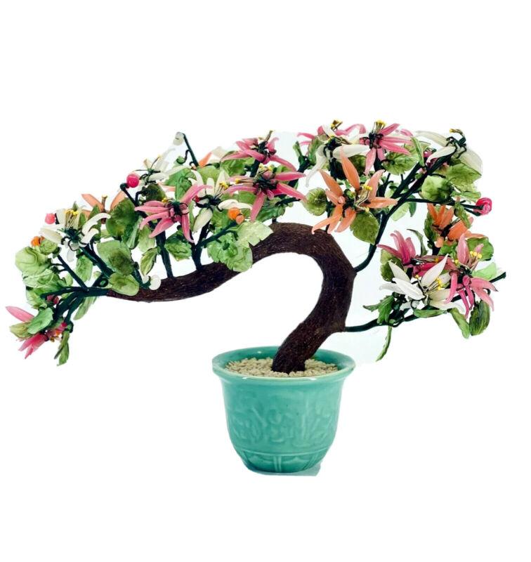 Asian Chinese Oriental Bonsai Agate Glass Jade Tree