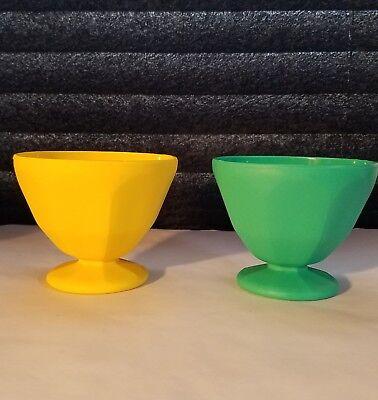 Ice Cream Sundae Bowls 2 Green Yellow Footed Plastic - Yellow Plastic Bowls