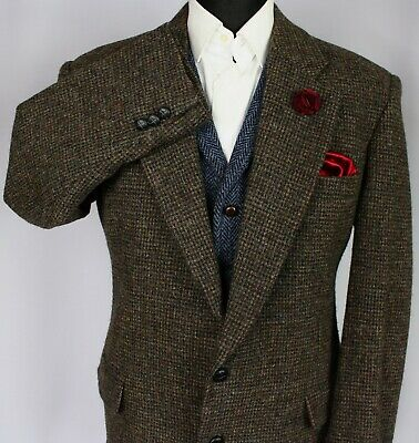 Harris Tweed Blazer Jacket Brown 44R AMAZING COLOUR WEAVE X741