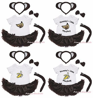 Mommy Little Banana Monkey Costume White Bodysuit Girls Brown Baby Dress NB-18M](Little Monkey Costume)