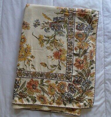 "April Cornell sun shine yellow brown sun flower table cloth 45.5x71 skirt 6.5"""