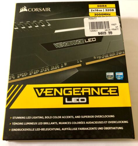 CORSAIR VENGEANCE LED Series 32GB (2PK 16GB) 3.0GHz DDR4 Desktop Memory with LED Lighting Black CMU32GX4M2C3000C15