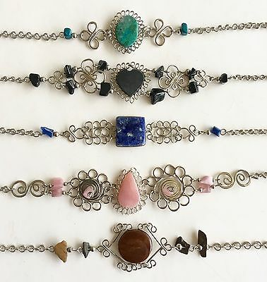 Wholesale Peruvian jewelry 5 semi-precious stone bracelets alpaca silver