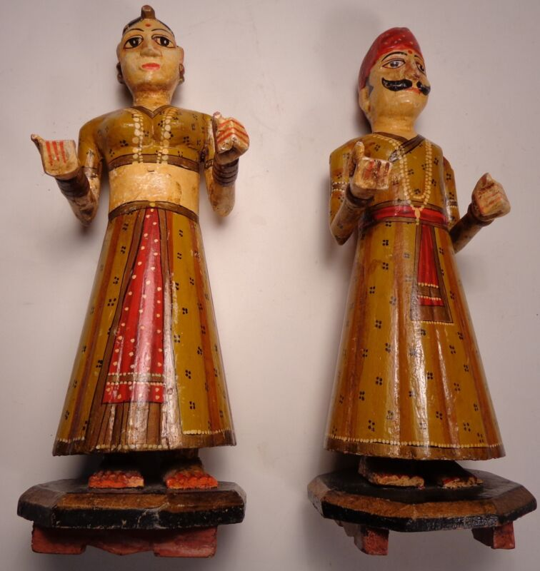 Vintage India Carved Painted Statues