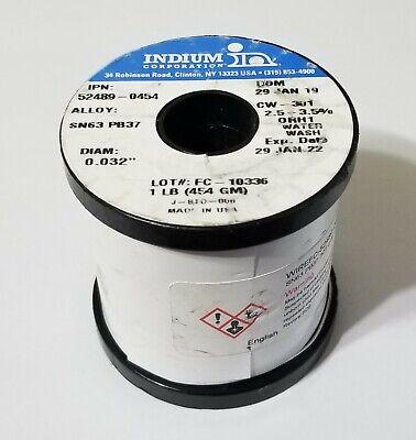 1lb Indium 6337 Solder .032 63tin 37lead Water Wash Flux Cw-301 52489-0454