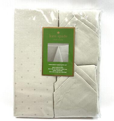 Kate Spade New York 9 Piece Tablecloth 60x102 Tan Beige Larabee Dot Holiday NEW