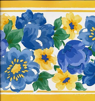 Modern Yellow and Blue Floral on White with Yellow Trim WALLPAPER BORDER